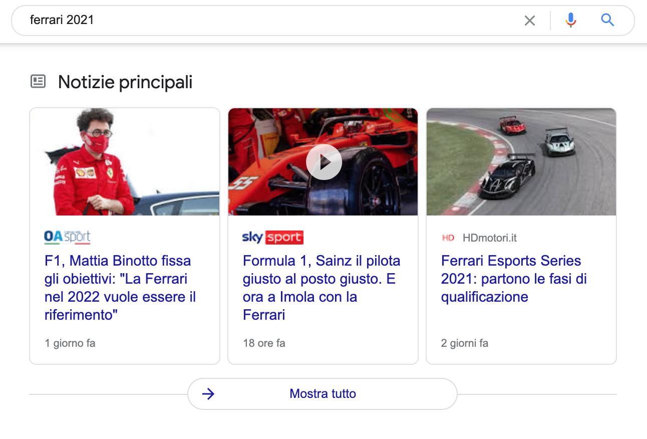 video Ferrari 2021 su Google