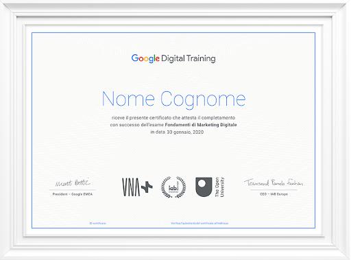 Certificazione Digital Marketing Google
