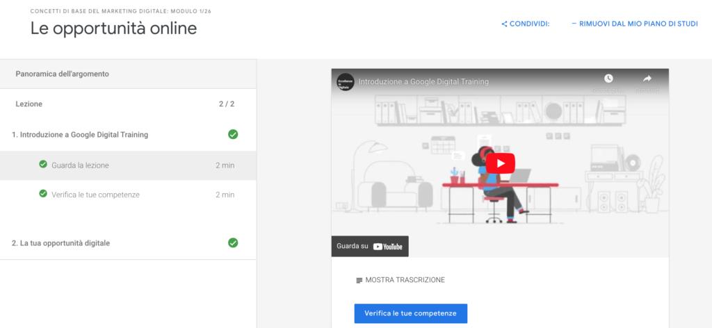 Struttura Certificazione Marketing Digitale di Google