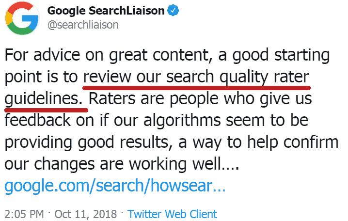 Google Search Liason - criterio per la E-A-T